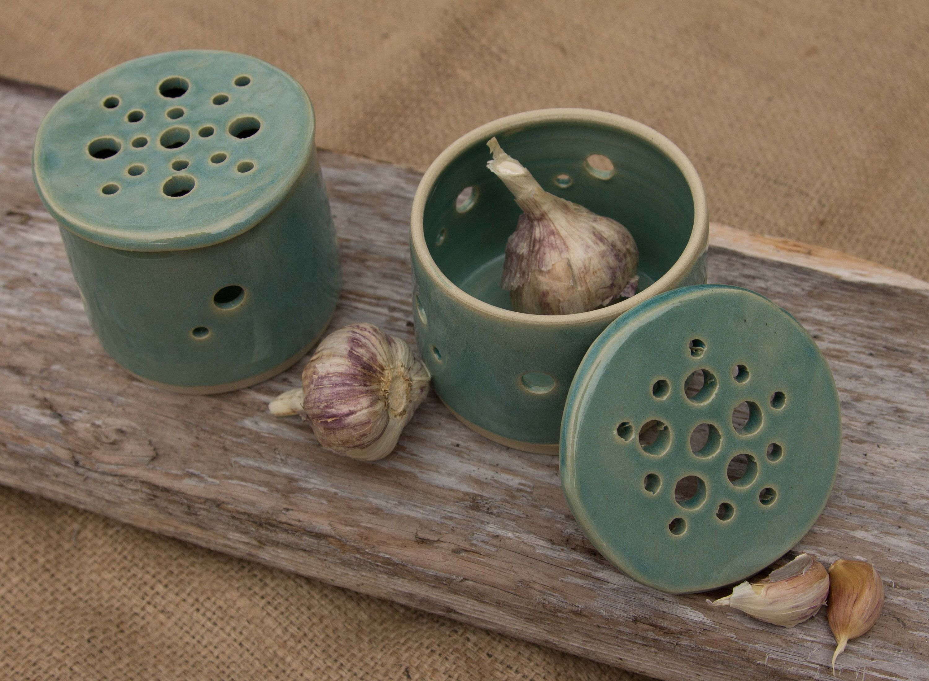Ceramic Pottery Garlic Holder | Teal | White | Blue | Green | Handmade on Haida Gwaii #ceramicpottery