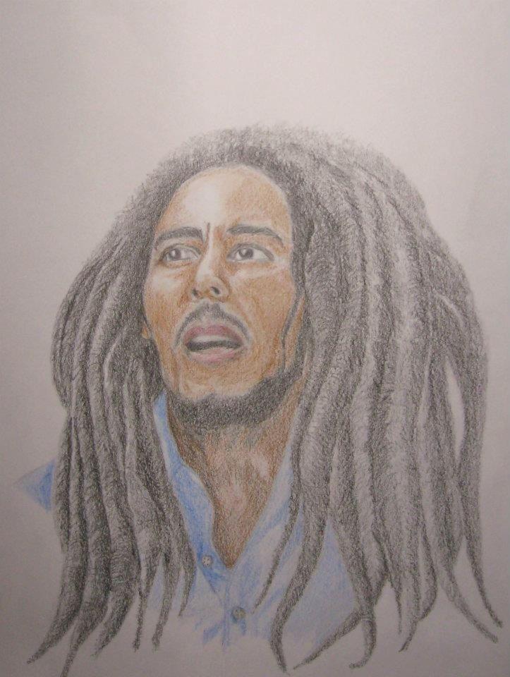 Bob Marley colored pencil drawing.