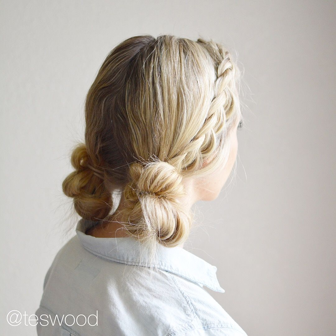 Braid messy buns @teswood   Styles to Try   Pinterest   Braided ...
