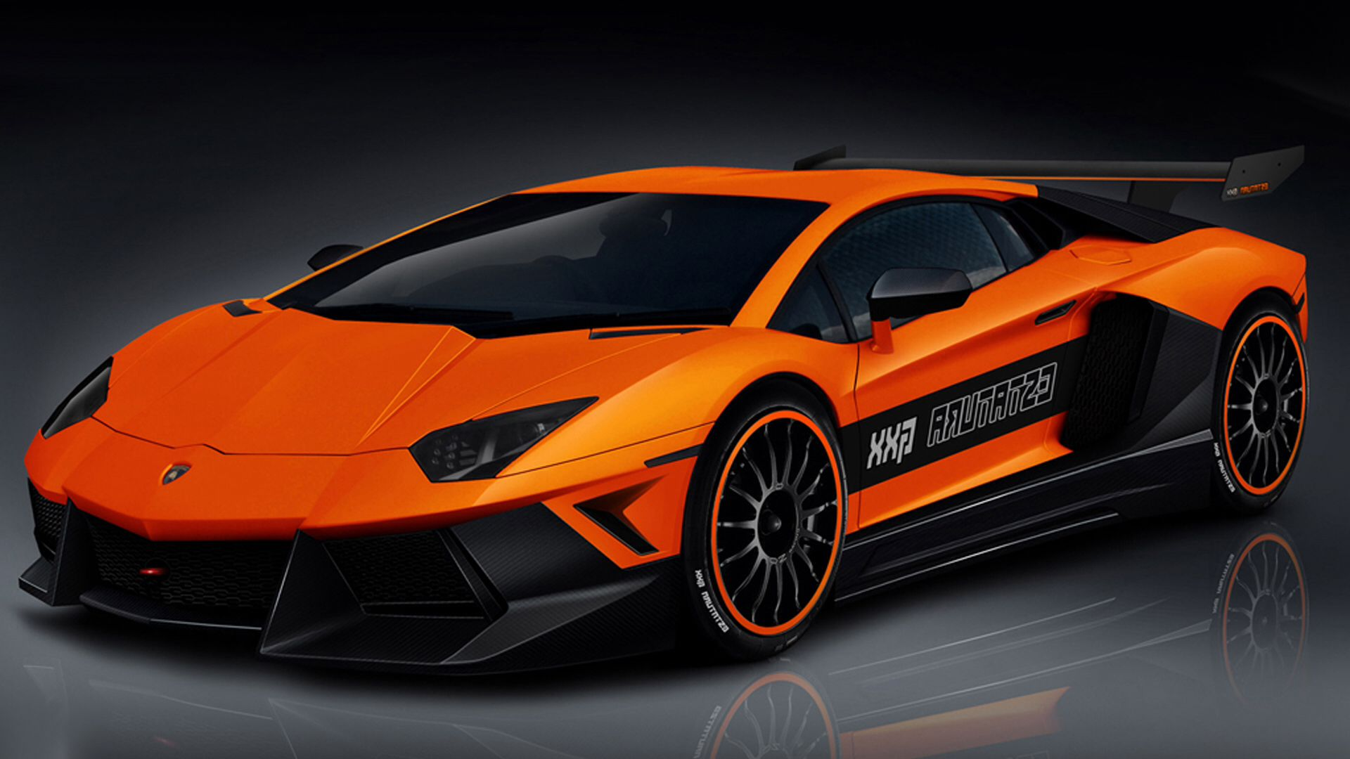 Really Cool Orange Lambo With Black Stripe