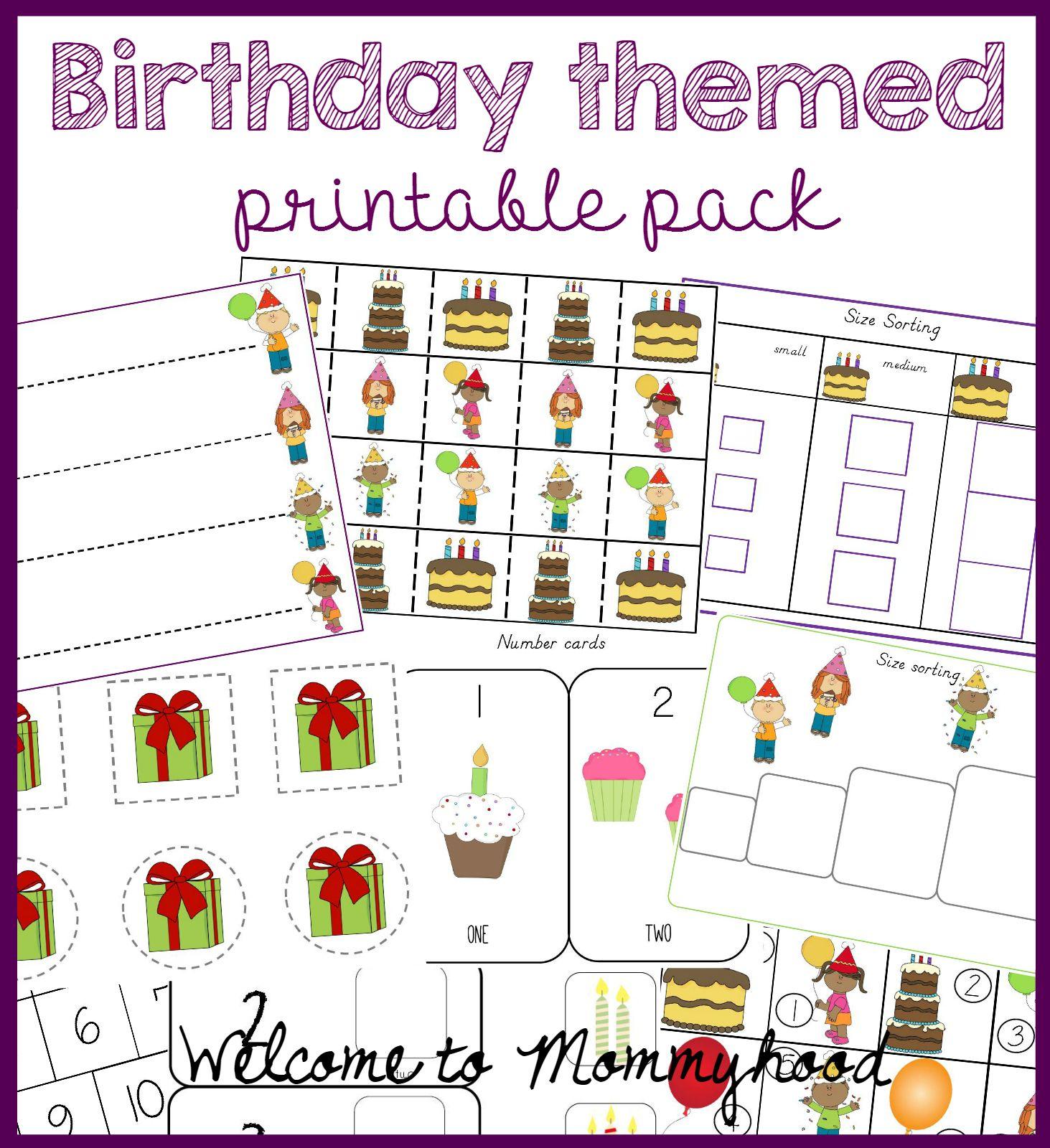 Welcome To Mommyhood Birthday Themed Printable Pack For Kids Birthday Montessori Activities Birthday Activities [ 1600 x 1463 Pixel ]