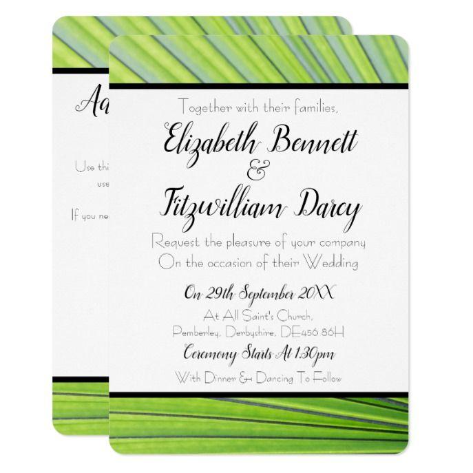 Tropical Green Wedding Invitation In 2018 Custom Beach Themed
