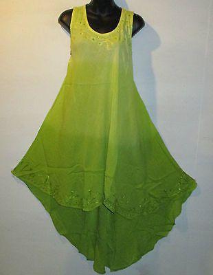 Dress fit 1X 2X 3X Plus Long Tunic Sundress Green Sequins A Shape Hi Lo Hem 654