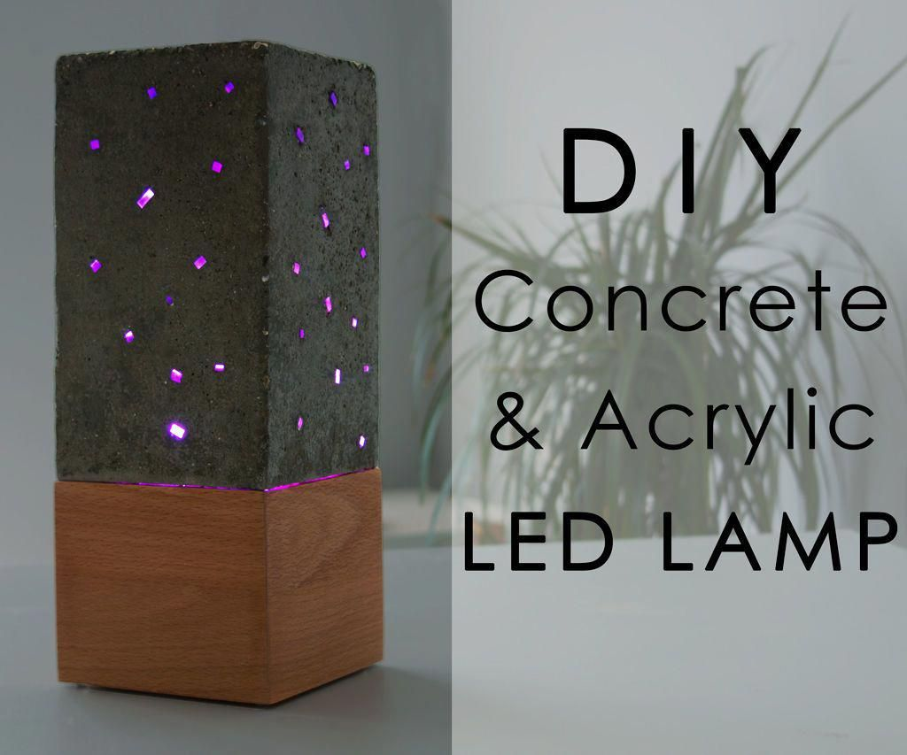 Concrete And Acrylic Led Lamp With A Wooden Base Lampsdiy Lamp