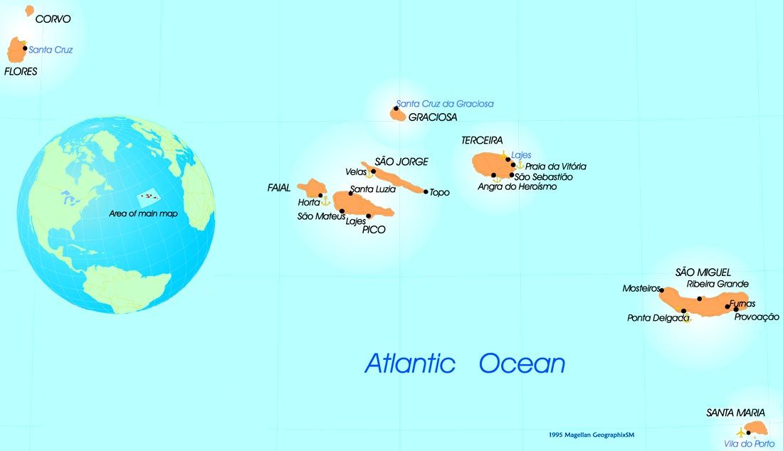 Map Azores Azores Portugal Map Map