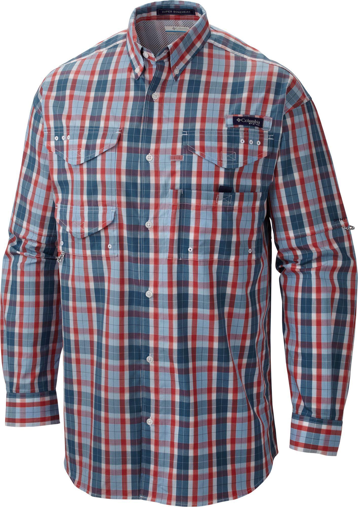 3f5582f2982 Columbia Men's Super Bonehead Classic Long Sleeve Fishing Shirt, Size: 3XL,  Red