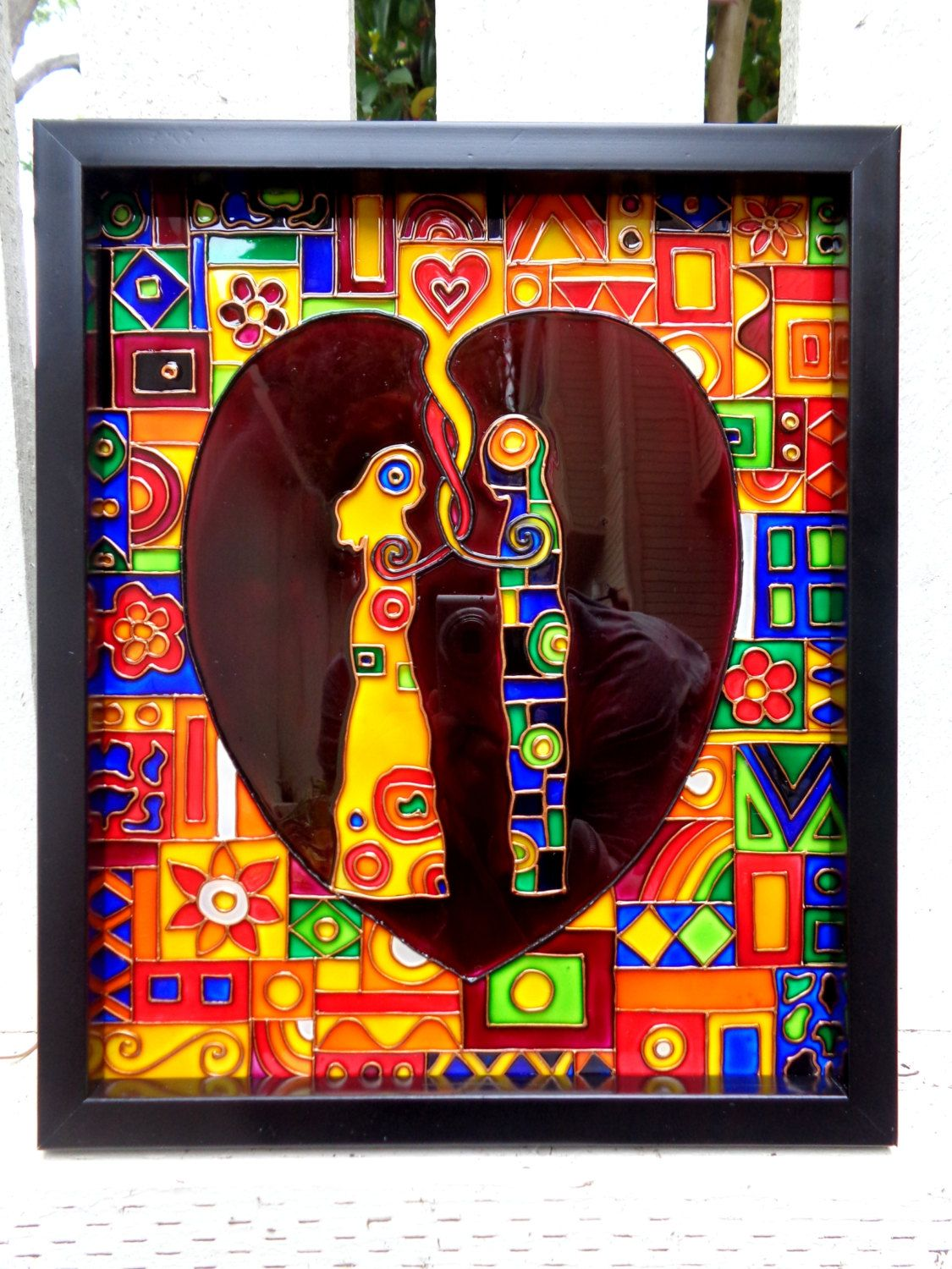 Loving Couple Glass Painting Abstract Art Panel Glass Wall