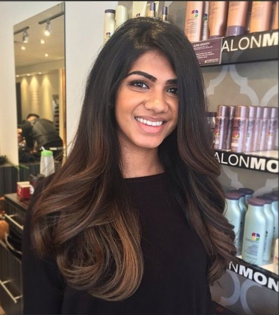 Smooth And Sleek Dark Subtle Ombre Hair Color For Black Hair Indian Skin Hair Color Black Hair With Highlights