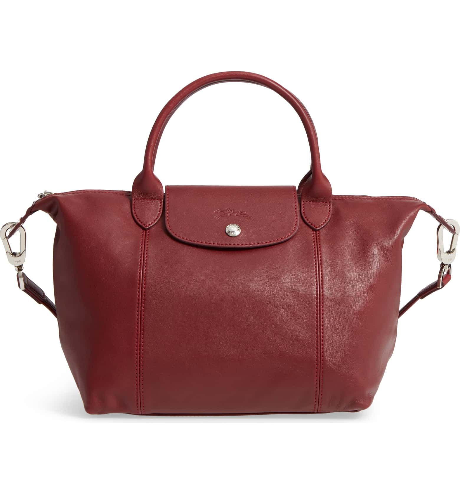 Longchamp Small 'Le Pliage Cuir' Leather Top Handle Tote ...