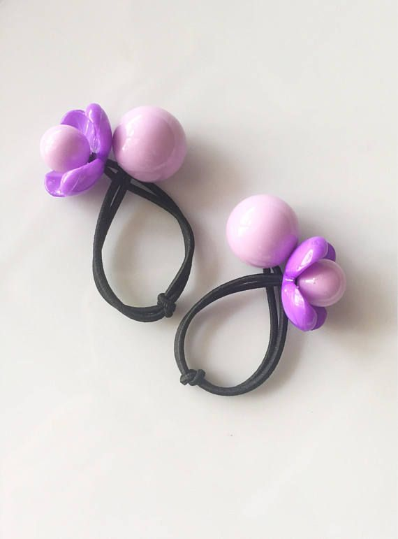Flower Hair Ties   Ball Hair Ties   Ponytail  Pigtails   Ponytail ... c39e3fc9875
