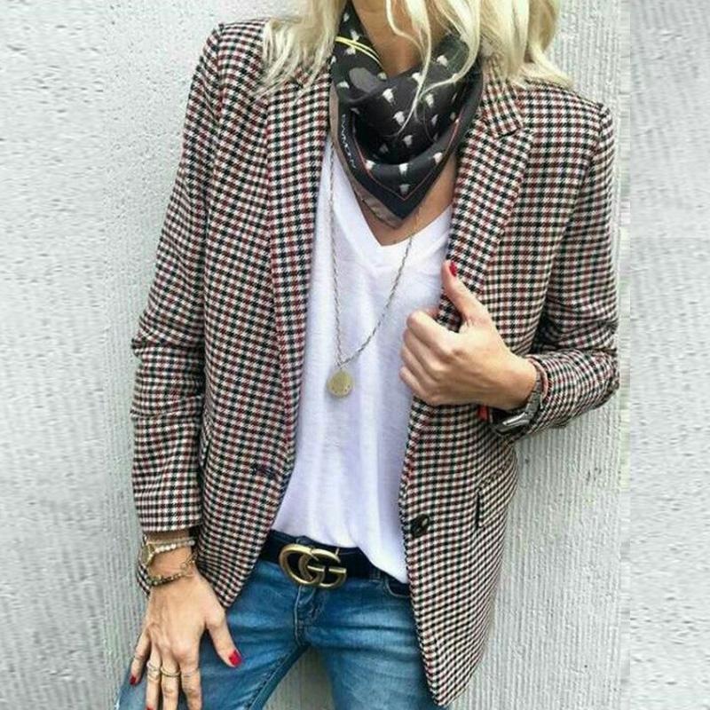 Stylish Plaid Long Sleeve Suit   Fashion, Clothes, Blazer