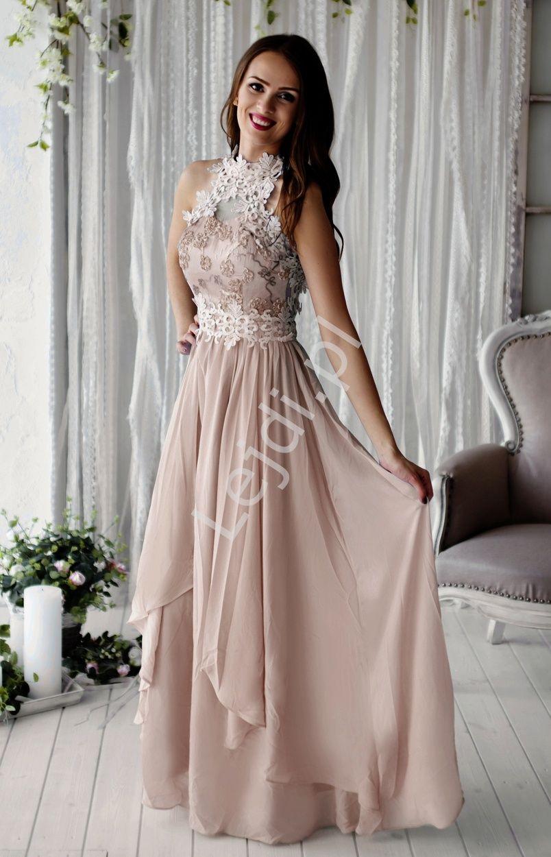Bezowa Dluga Suknia Wieczorowa Z Kwiatami 3d Long Dress Dresses Prom