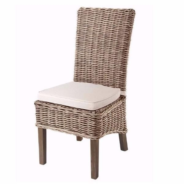 Grey Wash Rattan Dining Chairs With Cream Cushion Pair