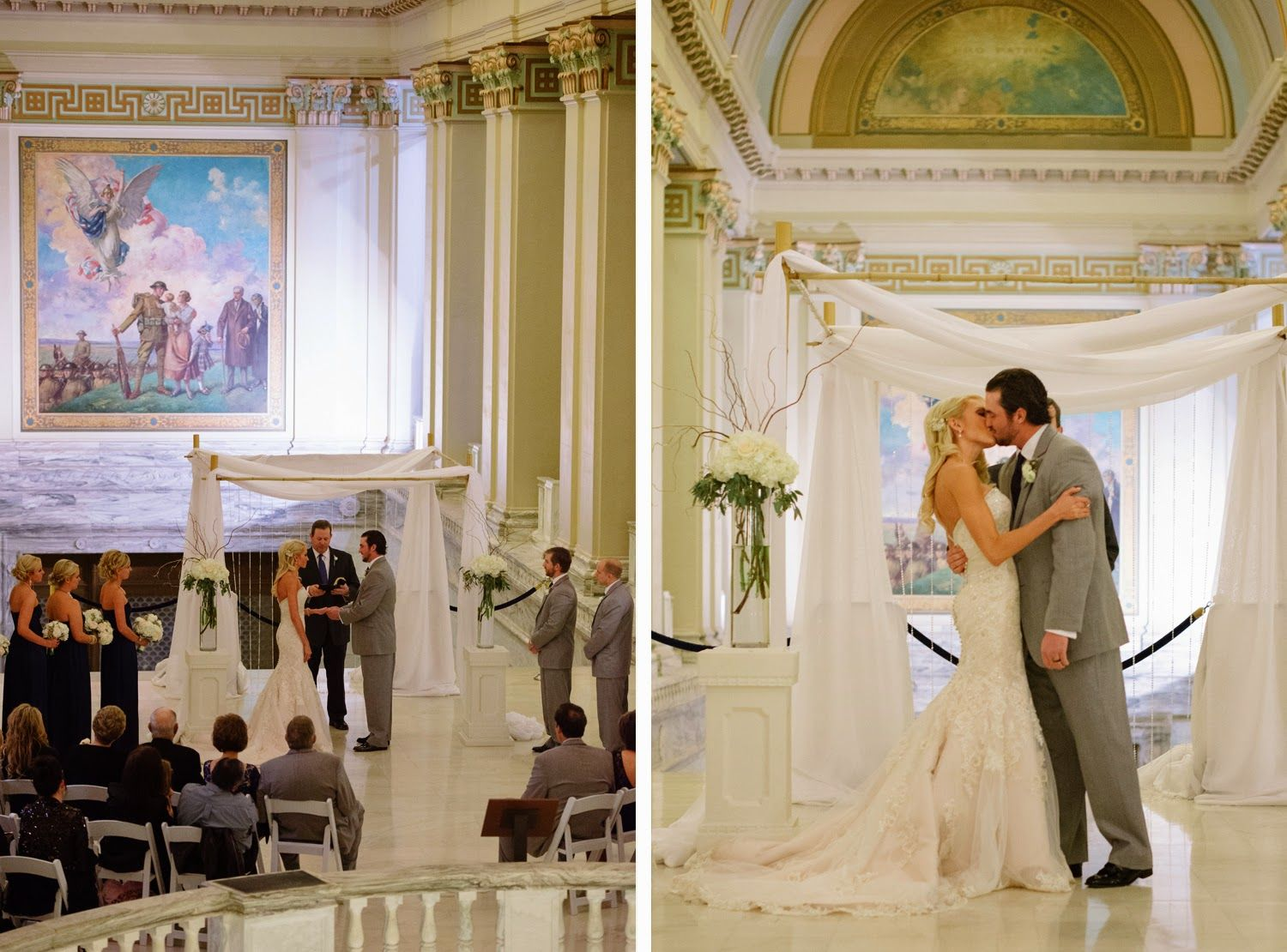Ceremony First Reception: Sue & Lou Events- Winter Wedding Elegance! First Kiss In