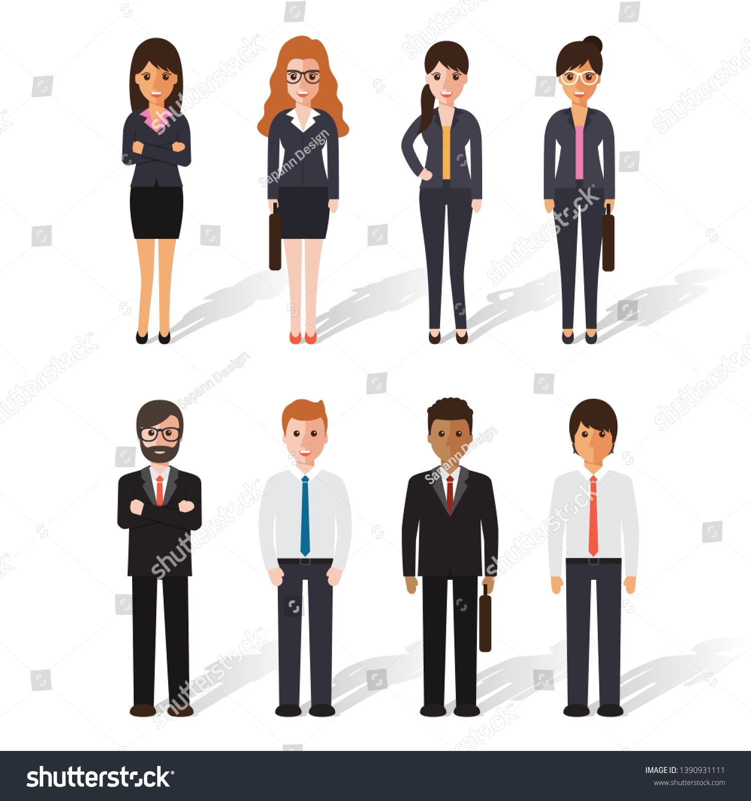 Group Of Working People Standing On White Background Business Men