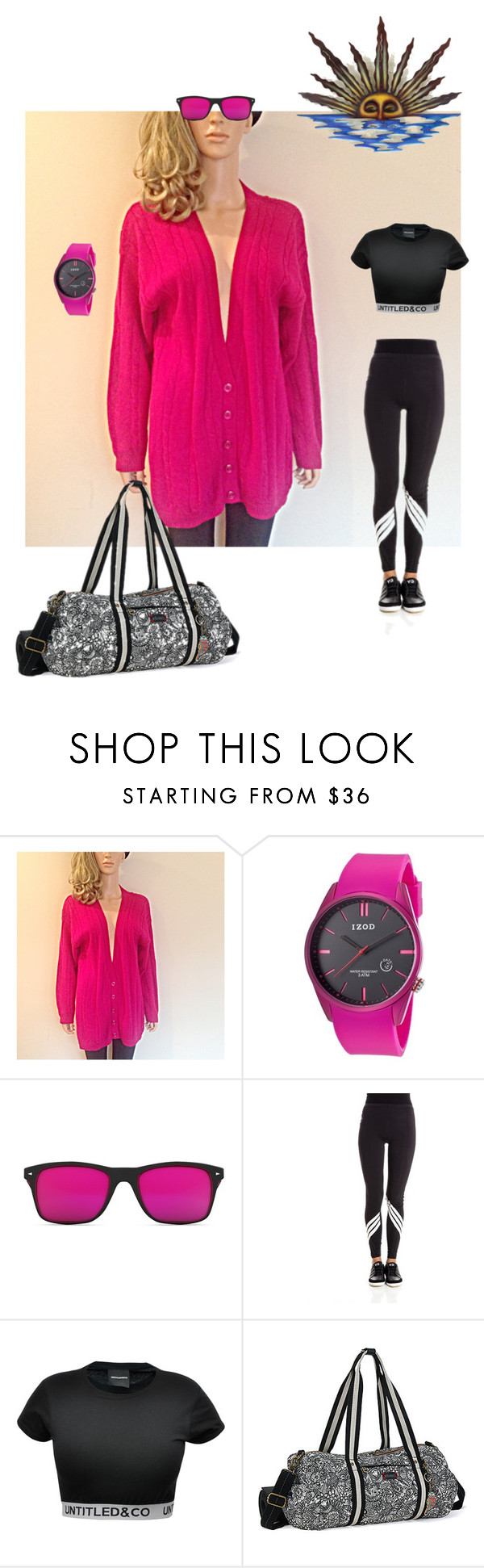 """""""I work out!"""" by powderholl on Polyvore featuring Izod, GlassesUSA, Y-3, CO, Sakroots, NOVICA, fitness, workout, oversizedsweater and breastcancerawarenessMonth"""