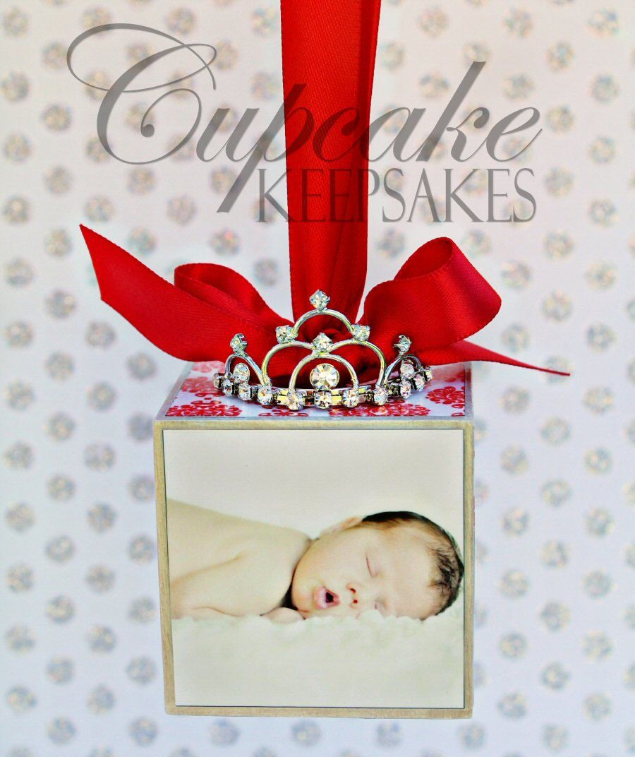 New baby christmas ornament - Christmas Princess Tiara New Baby Custom Personalized Photo Block Ornament Red Damask Gift 25 00