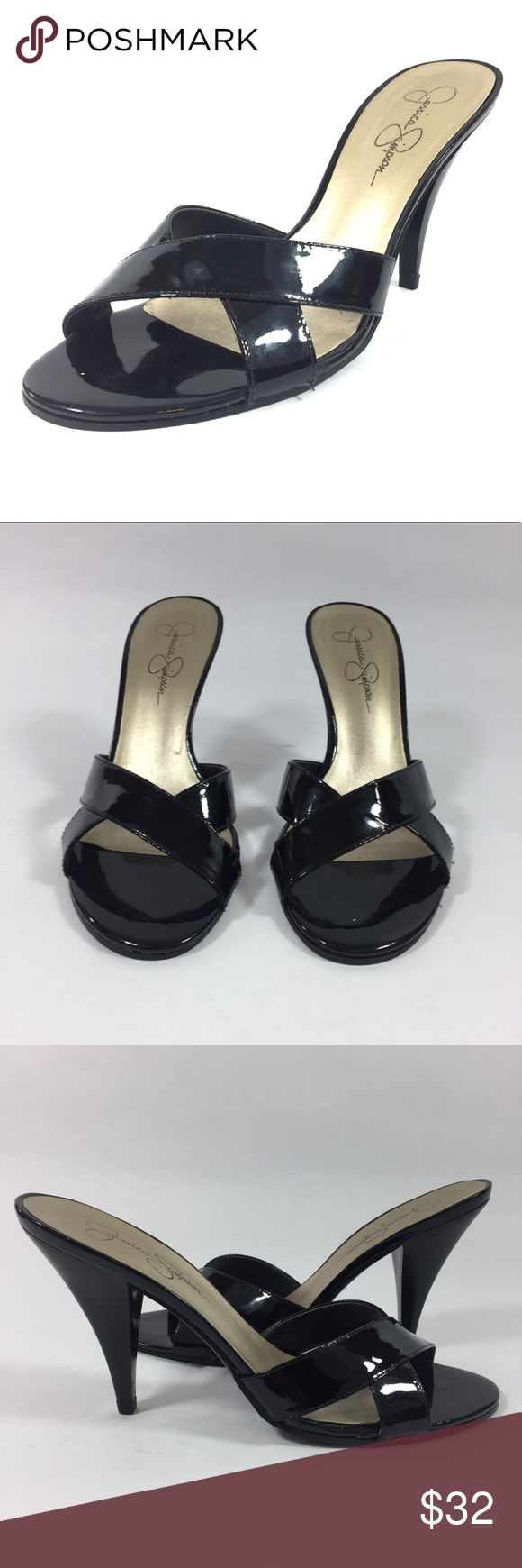 Jessica Simpson schwarz Patent Slide Slide Slide On Mid Heel 7   Pinterest ... 5d5d97