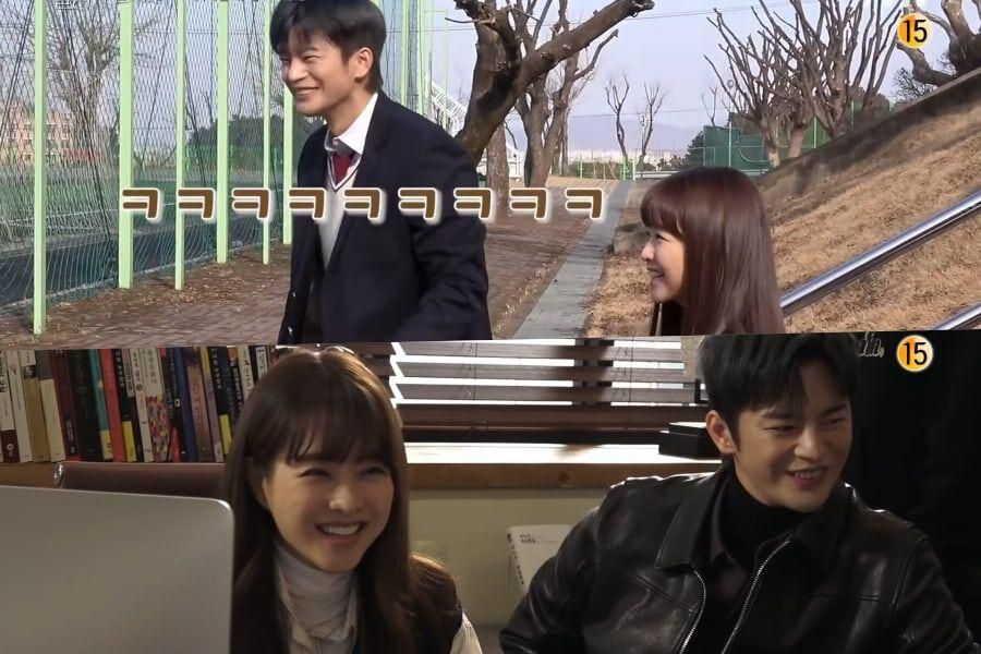 """Watch: Seo In Guk And Park Bo Young Can't Stop Laughing Behind The Scenes Of """"Doom At Your Service"""""""