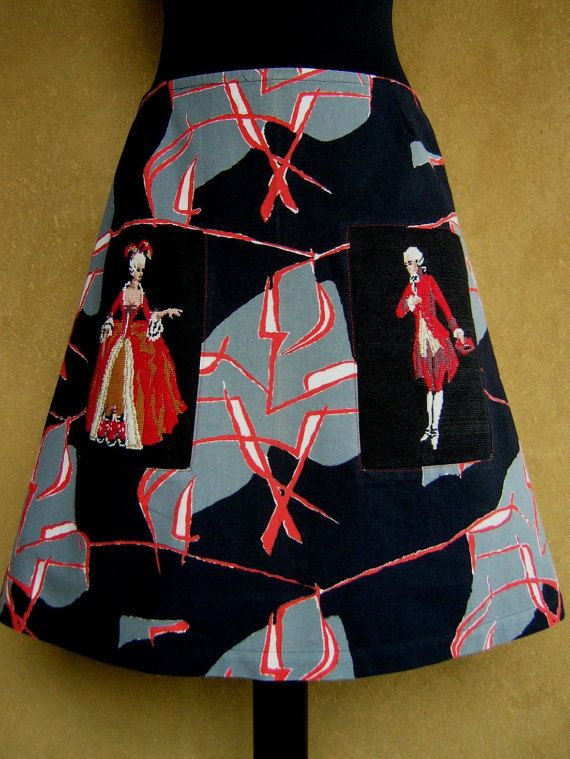 Baroque couple embroidery skirt, vintage fabric skirt, A-line skirt, lined, abstract, black gray red white, size Large