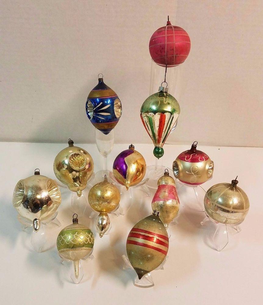 Mercury Balls Decorations Vintage Antique Christmas Ball Bauble Ornament Mercury Indent Mica