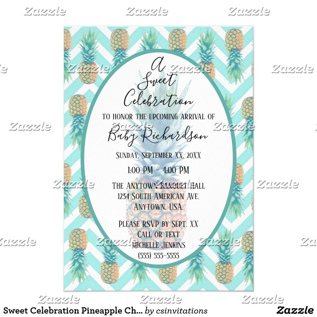 Sweet celebration pineapple chevron baby shower invitation babies