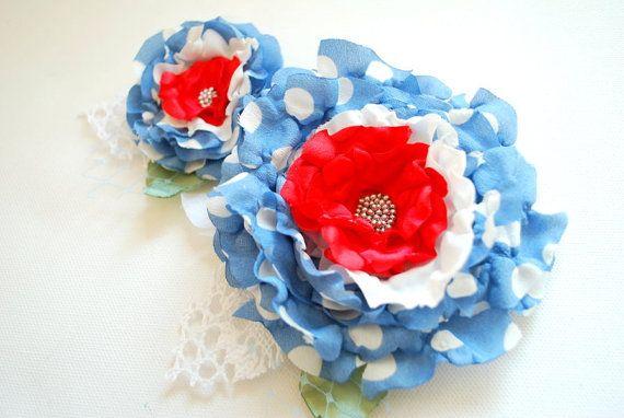 Blue red polka dots flowersSet of two chiffon by HansHolzkopf, $29.00