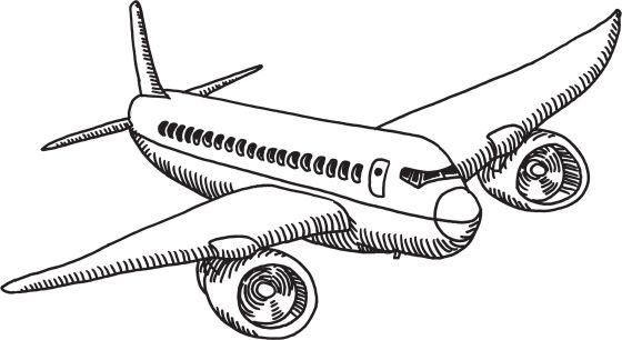 Hand Drawn Vector Sketch Of The View Through An Airplane Window With Airplane Drawing How To Draw Hands Drawings