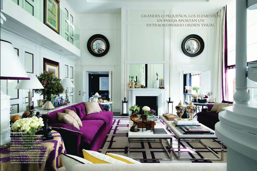 Velvet purple sofas, amazing architectural details - all rather fabulous.  More pics in the post.  delight by design
