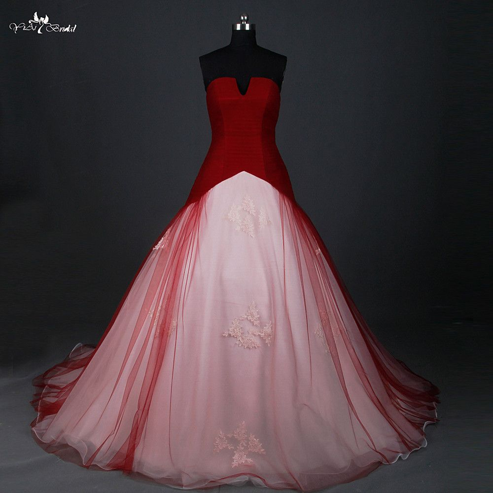 Red Wedding Dress Ball Gown Small Open V Neck Cheap Red And White