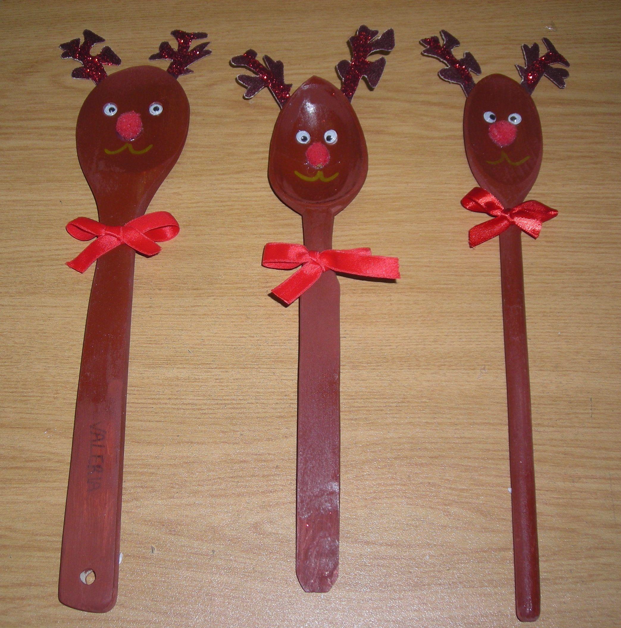 Lavoretti In Legno Per Natale renne con i cucchiai di legno (con immagini) | cucchiai di
