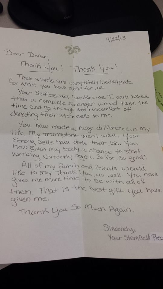Bone Marrow Recipient Pens Beautiful Thank You