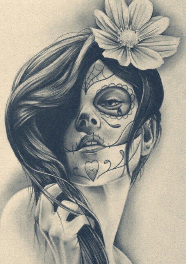 Dia De Los Muertos Catrina Pencil Sketch Tattoo Ideas Skull