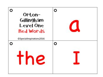Orton-Gillingham Level 1 and 2 Red Words Flip Cards | Gillingham ...