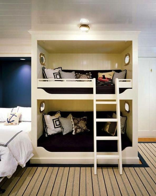 Fun Guest Bedroom With Glossy Beadboard Ceiling, Navy Blue