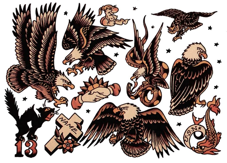 sailor jerry eagle tattoos traditional eagle. Black Bedroom Furniture Sets. Home Design Ideas