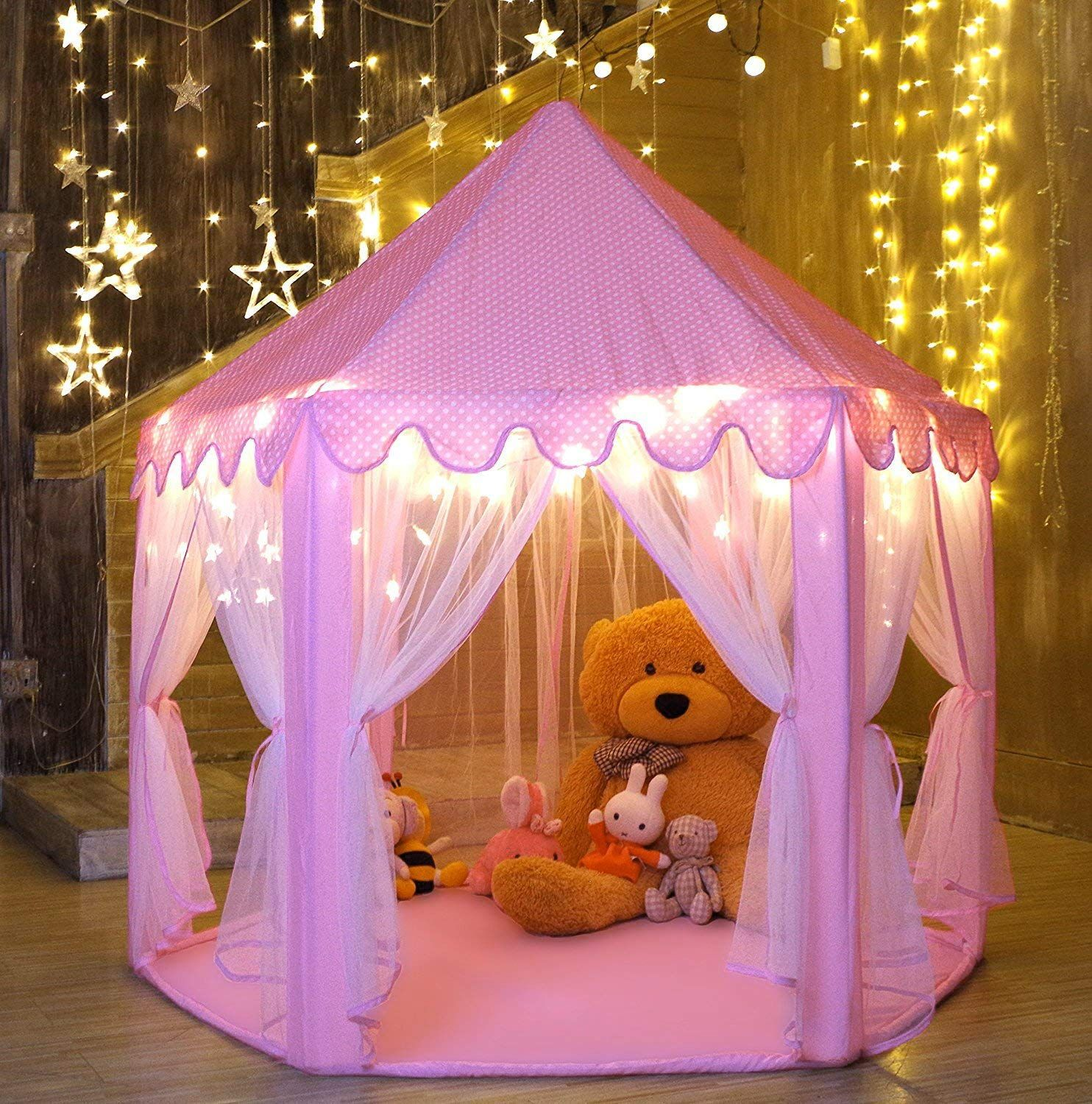 Castle Play Tent For Girls With Light In 2020 Girls Play Tent Kids Tents Play Tent