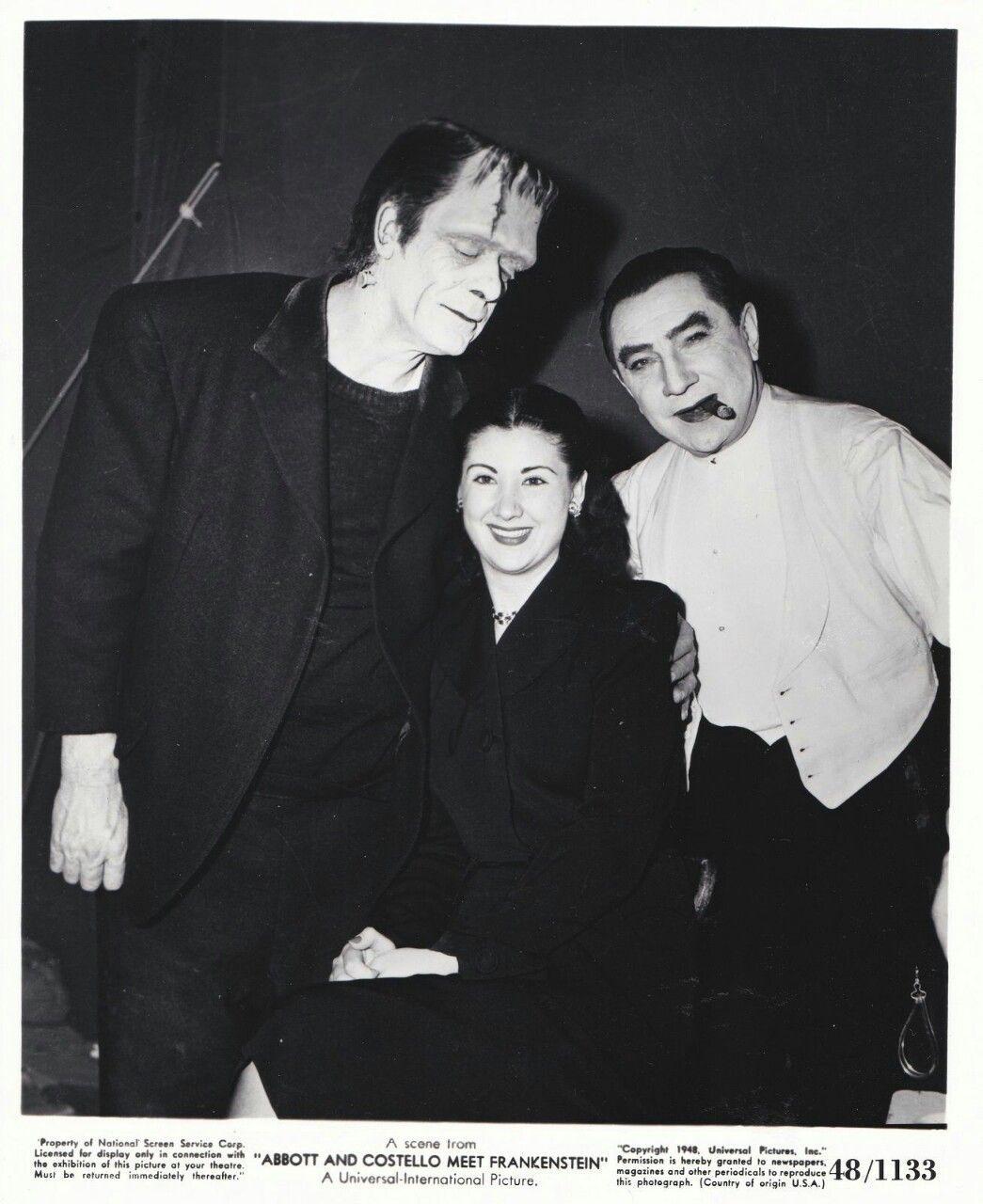 Glenn Strange Bela Lugosi And A Woman On The Set Of Abbott And