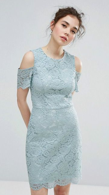 Blue green mint lace dress with cutouts. Perfect guest dress. ASOS ...