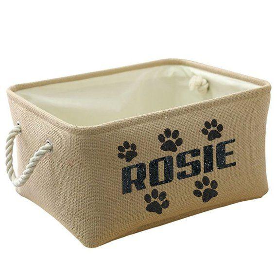 Personalized Pet Toy Storage Basket Pet Storage Dog Toy Bin Linen