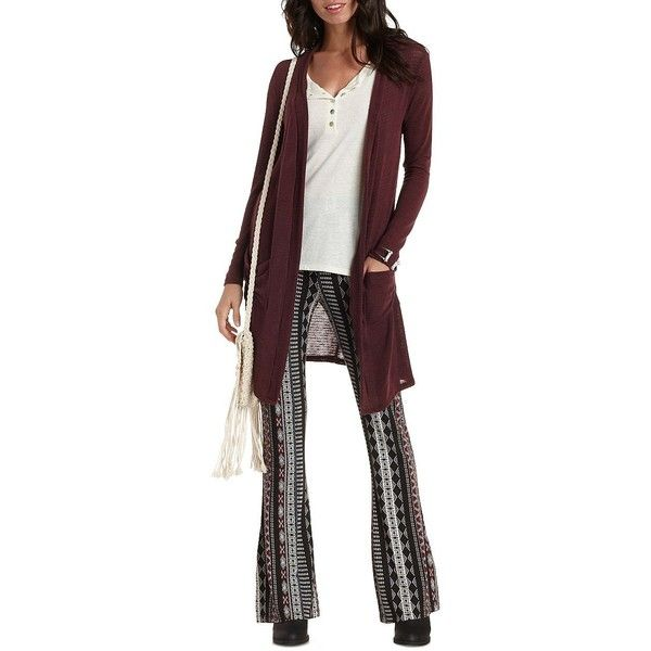 6700ab2d45 Charlotte Russe Oxblood Slub Knit Duster Cardigan by Charlotte Russe...  ( 23)