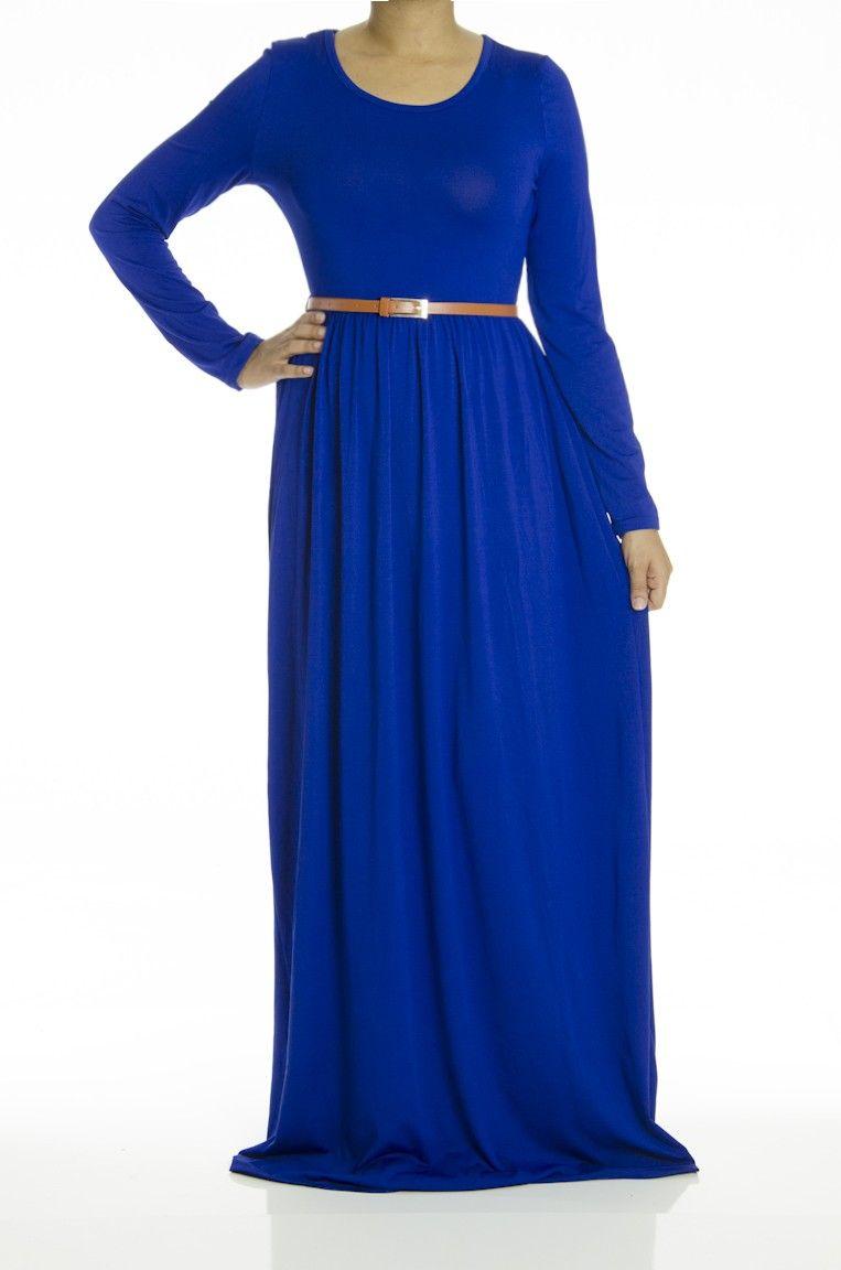 Royal Blue Milk Silk Maxi Dress Modest Maxi Dresses