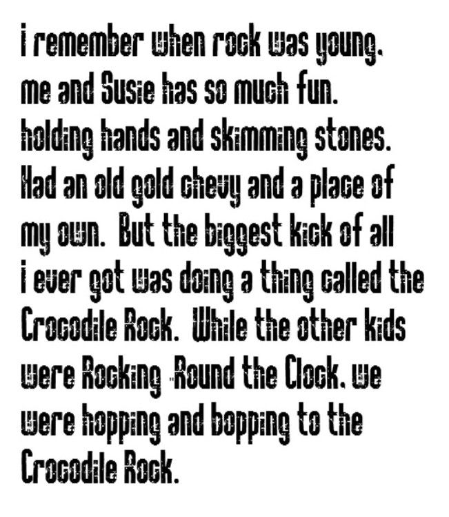 Lyric my rock lyrics : Elton John - Crocodile Rock - song lyrics, music lyrics, song ...