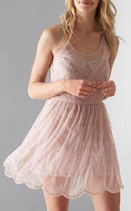 AEO Beaded Tulle Slip Dress