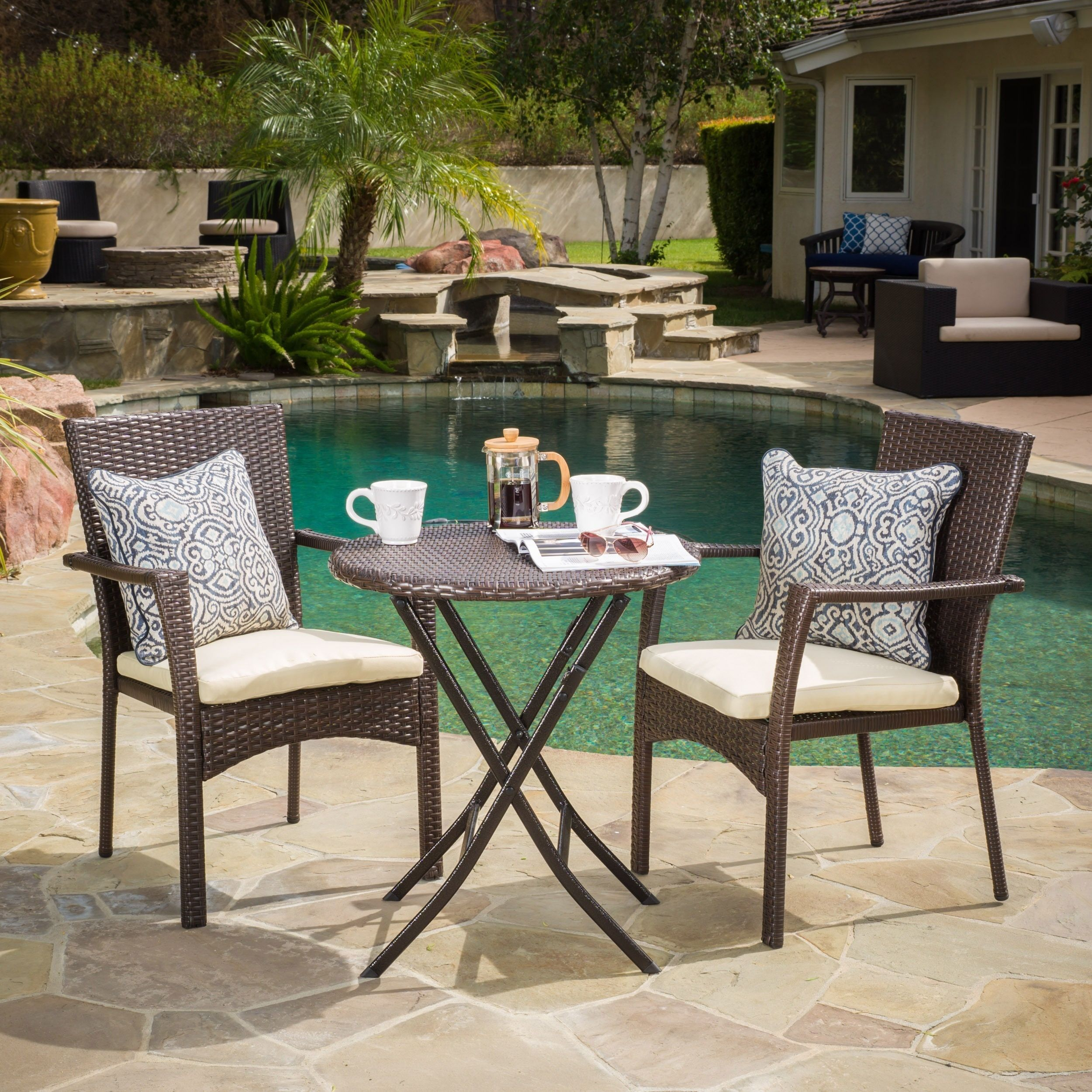 Elba Outdoor 3-piece Wicker Bistro Set with Cushions by Christopher ...