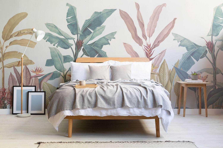 Tropical Minimalist Wallpaper Nature Inspired Muralswallpaper Tropical Living Room Mural Wallpaper Minimalist Wallpaper
