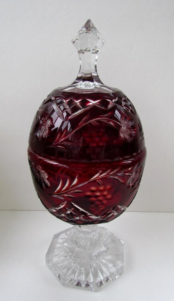 Large Bohemian Decanter W Lid Ruby Red Cut To Clear Ebay