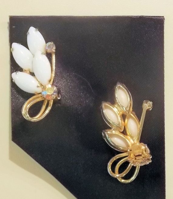 Milk Glass & Topaz Earrings Lovely Vintage by ArtivaEclectica