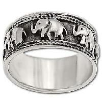 New 925 Sterling Silver Marching Elephant Spinner Band Ring-Free Shipping