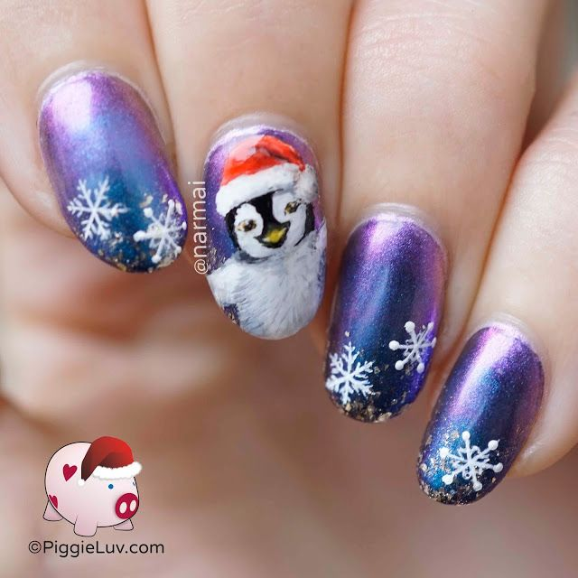 Penguin Nail Art Designs: Happy Christmas Penguin Nail Art